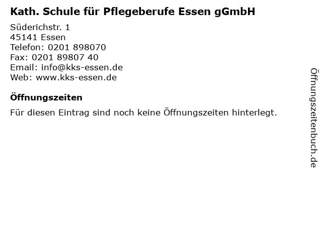 Kath. Schule für Pflegeberufe Essen gGmbH in Essen: Adresse und Öffnungszeiten