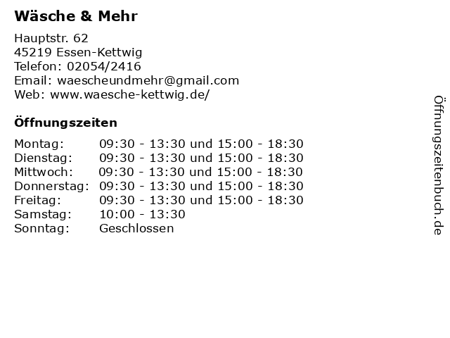 Wäsche & Mehr in Essen-Kettwig: Adresse und Öffnungszeiten