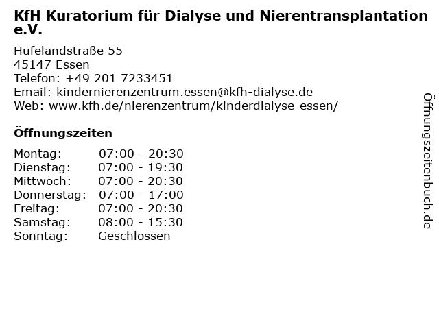 KfH Kuratorium für Dialyse und Nierentransplantation e.V. in Essen: Adresse und Öffnungszeiten