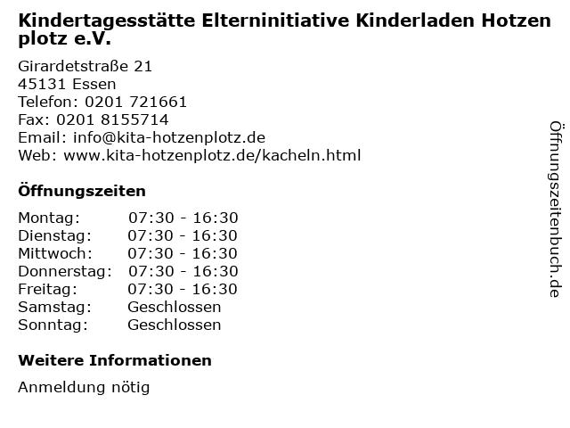 Kindertagesstätte Elterninitiative Kinderladen Hotzenplotz e.V. in Essen: Adresse und Öffnungszeiten