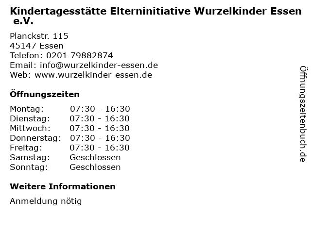 Kindertagesstätte Elterninitiative Wurzelkinder Essen e.V. in Essen: Adresse und Öffnungszeiten