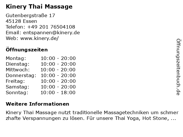 Kinery Thai Massage in Essen: Adresse und Öffnungszeiten