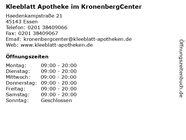 Kleeblatt Apotheke im KronenbergCenter in Essen: Adresse und Öffnungszeiten