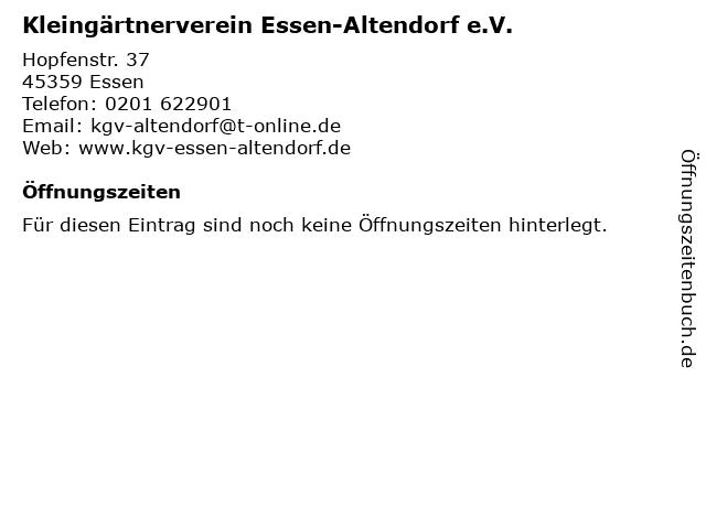 Kleingärtnerverein Essen-Altendorf e.V. in Essen: Adresse und Öffnungszeiten