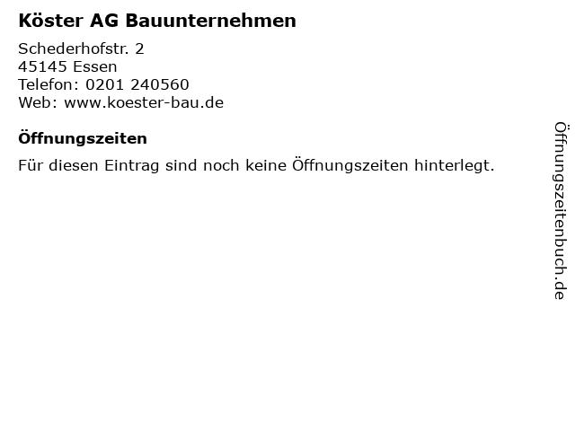 Köster AG Bauunternehmen in Essen: Adresse und Öffnungszeiten