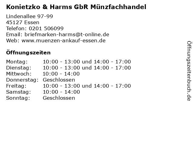 ᐅ öffnungszeiten Konietzko Harms Gbr Münzfachhandel