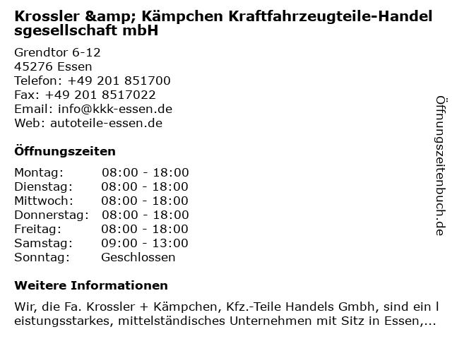 Krossler & Kämpchen Kraftfahrzeugteile-Handelsgesellschaft mbH in Essen: Adresse und Öffnungszeiten