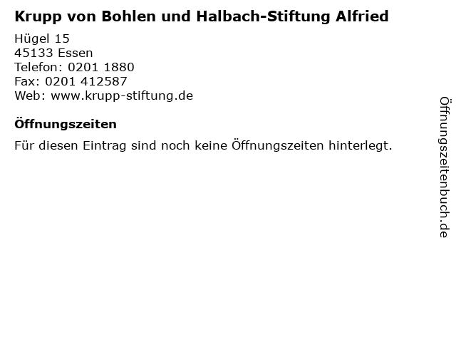 Krupp von Bohlen und Halbach-Stiftung Alfried in Essen: Adresse und Öffnungszeiten