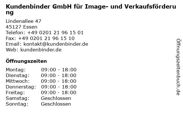 Kundenbinder GmbH für Image- und Verkaufsförderung in Essen: Adresse und Öffnungszeiten
