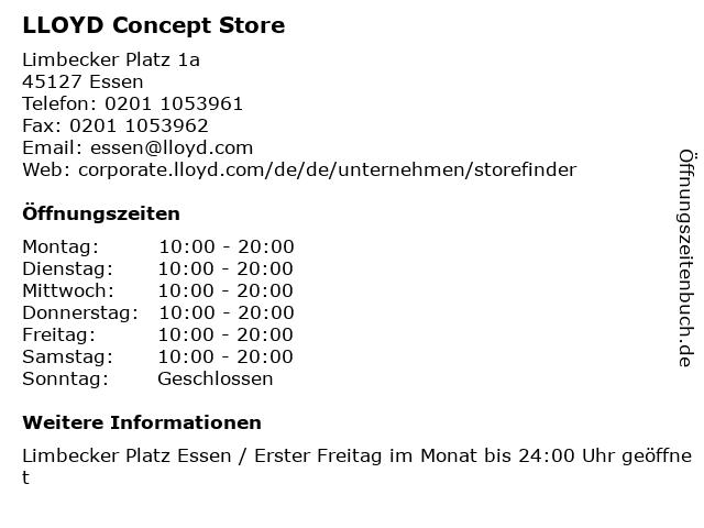 LLOYD Concept Store in Essen: Adresse und Öffnungszeiten