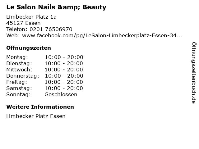 Le Salon Nails & Beauty in Essen: Adresse und Öffnungszeiten