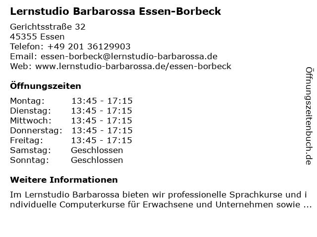 Lernstudio Barbarossa Essen-Borbeck in Essen: Adresse und Öffnungszeiten