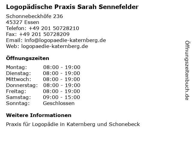 Logopädische Praxis Sarah Sennefelder in Essen: Adresse und Öffnungszeiten