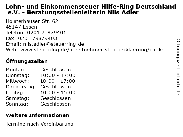 Lohn- und Einkommensteuer Hilfe-Ring Deutschland e.V. - Beratungsstellenleiterin Nils Adler in Essen: Adresse und Öffnungszeiten