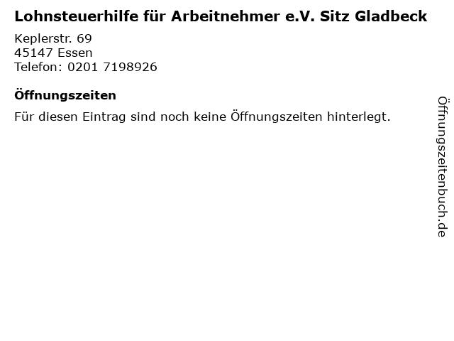 Lohnsteuerhilfe für Arbeitnehmer e.V. Sitz Gladbeck in Essen: Adresse und Öffnungszeiten