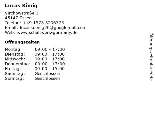Lucas König in Essen: Adresse und Öffnungszeiten