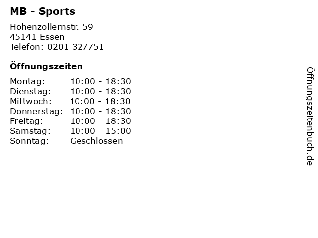 MB - Sports in Essen: Adresse und Öffnungszeiten