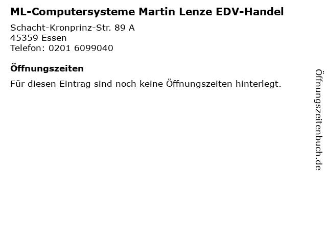 ML-Computersysteme Martin Lenze EDV-Handel in Essen: Adresse und Öffnungszeiten