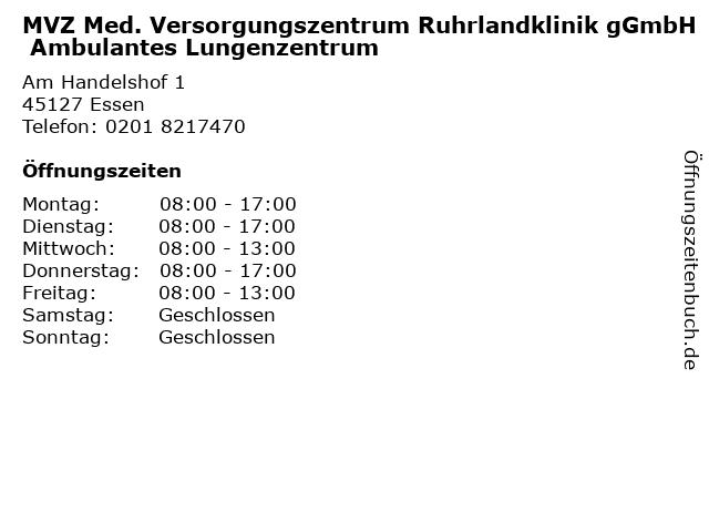 MVZ Med. Versorgungszentrum Ruhrlandklinik gGmbH Ambulantes Lungenzentrum in Essen: Adresse und Öffnungszeiten