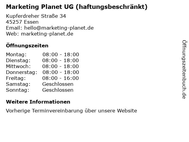 Marketing Planet UG (haftungsbeschränkt) in Essen: Adresse und Öffnungszeiten