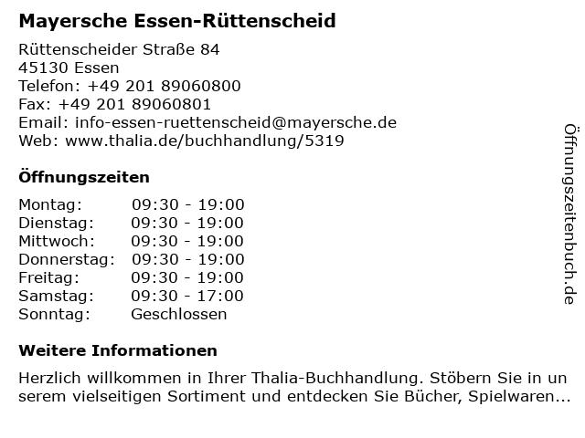 Mayersche Buchhandlung KG in Essen: Adresse und Öffnungszeiten