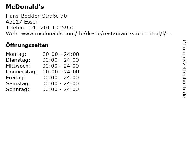 McDonalds Deutschland LLC in Essen: Adresse und Öffnungszeiten