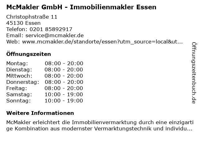 McMakler Essen in Mülheim an der Ruhr: Adresse und Öffnungszeiten
