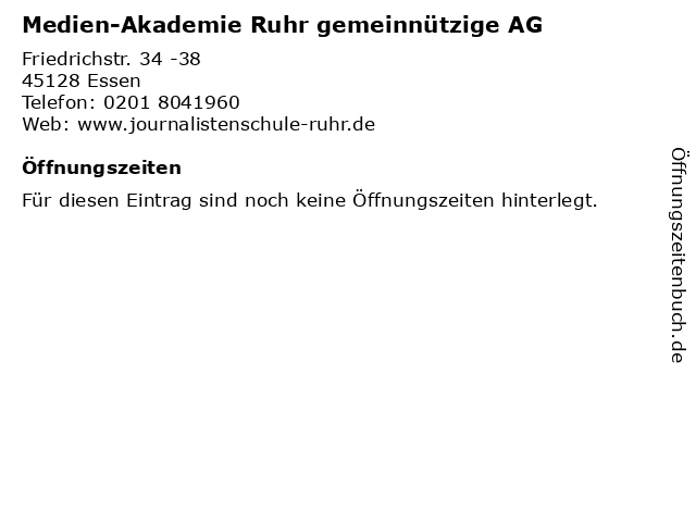 Medien-Akademie Ruhr gemeinnützige AG in Essen: Adresse und Öffnungszeiten