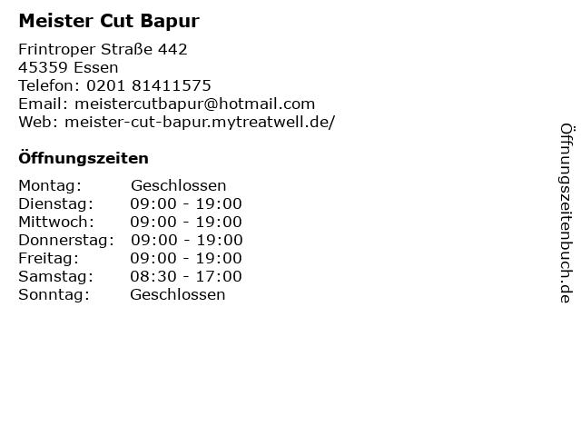 Meister Cut Bapur in Essen: Adresse und Öffnungszeiten