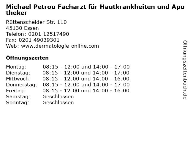 Michael Petrou Facharzt für Hautkrankheiten und Apotheker in Essen: Adresse und Öffnungszeiten