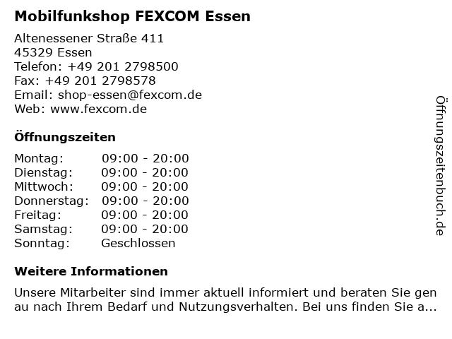Mobilfunkshop FEXCOM Essen in Essen: Adresse und Öffnungszeiten