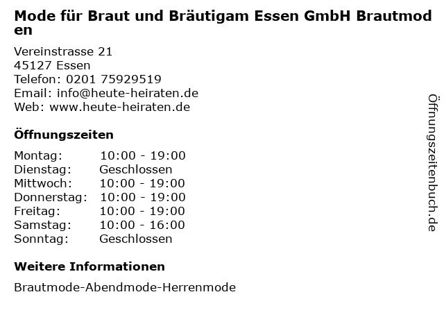 Mode für Braut und Bräutigam Essen GmbH Brautmoden in Essen: Adresse und Öffnungszeiten