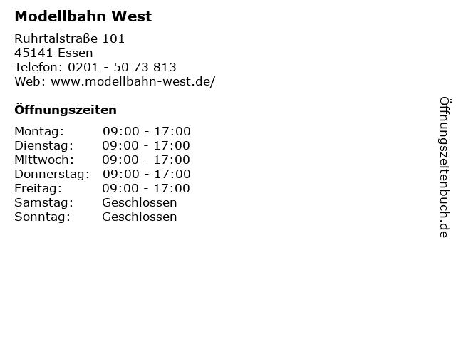 Modellbahn West in Essen: Adresse und Öffnungszeiten