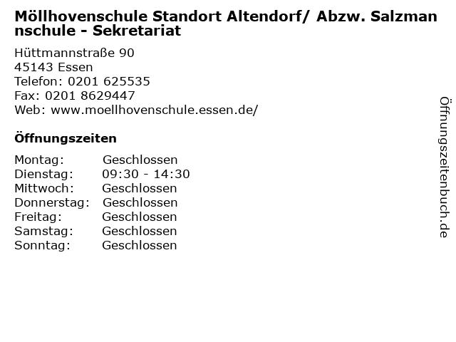 Möllhovenschule Standort Altendorf/ Abzw. Salzmannschule - Sekretariat in Essen: Adresse und Öffnungszeiten