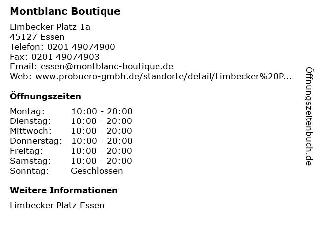 Montblanc Boutique in Essen: Adresse und Öffnungszeiten