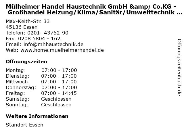 Mülheimer Handel Haustechnik GmbH & Co.KG - Großhandel Heizung/Klima/Sanitär/Umwelttechnik - Fachcenter in Essen: Adresse und Öffnungszeiten