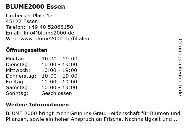 Blume 2000 Essen in Essen: Adresse und Öffnungszeiten