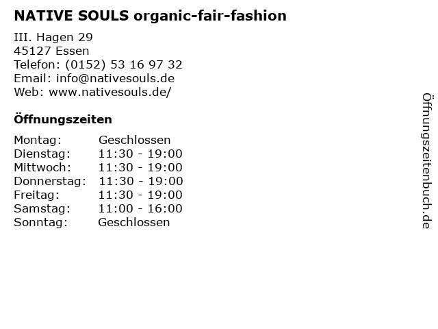 NATIVE SOULS organic-fair-fashion in Essen: Adresse und Öffnungszeiten