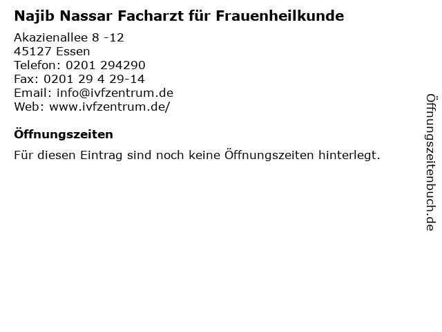 Najib Nassar Facharzt für Frauenheilkunde in Essen: Adresse und Öffnungszeiten
