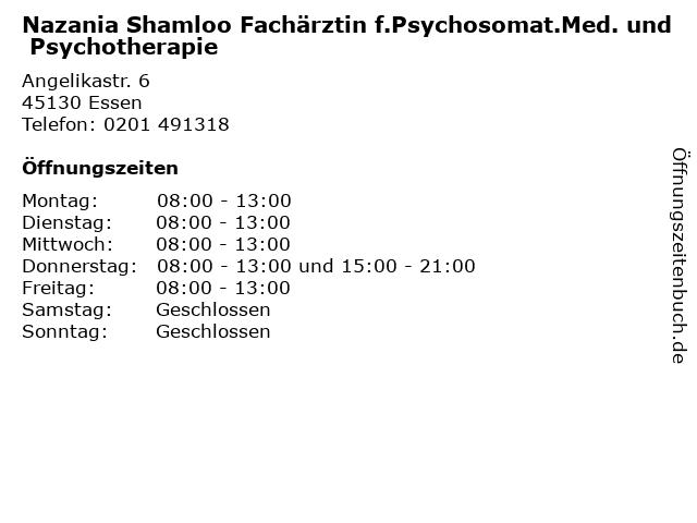 Nazania Shamloo Fachärztin f.Psychosomat.Med. und Psychotherapie in Essen: Adresse und Öffnungszeiten