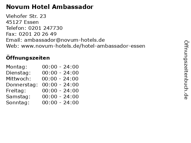 Novum Hotel Ambassador in Essen: Adresse und Öffnungszeiten
