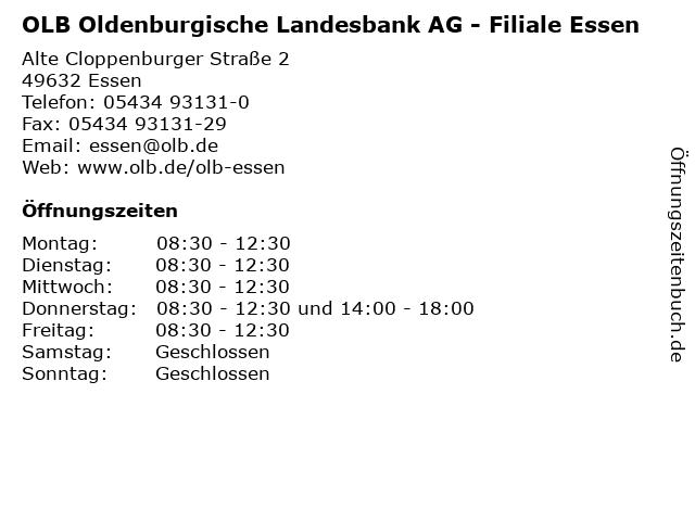 OLB Oldenburgische Landesbank AG - Filiale Essen in Essen: Adresse und Öffnungszeiten