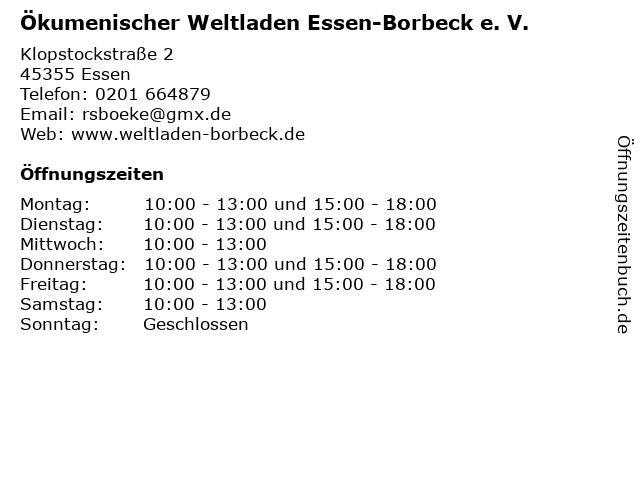 Ökumenischer Weltladen Essen-Borbeck e. V. in Essen: Adresse und Öffnungszeiten