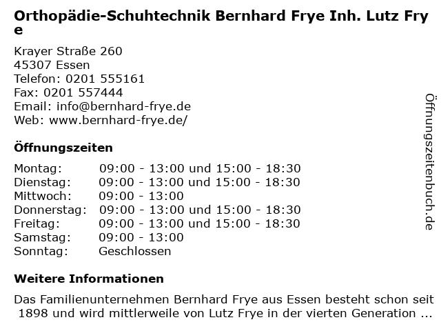 Orthopädie-Schuhtechnik Bernhard in Essen: Adresse und Öffnungszeiten