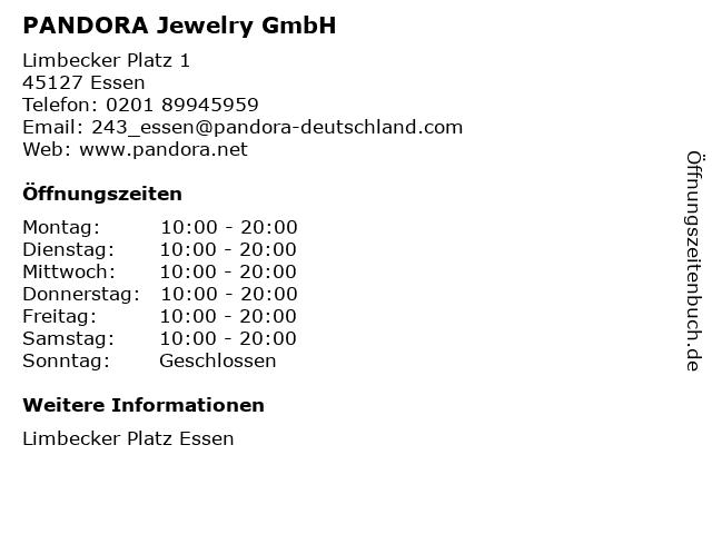 PANDORA Jewelry GmbH in Essen: Adresse und Öffnungszeiten