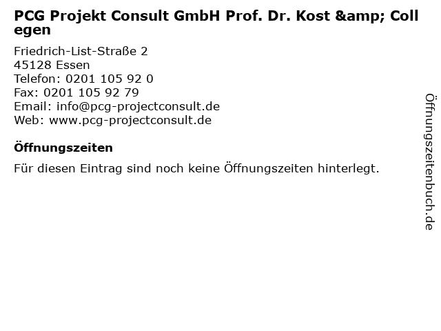 PCG Projekt Consult GmbH Prof. Dr. Kost & Collegen in Essen: Adresse und Öffnungszeiten