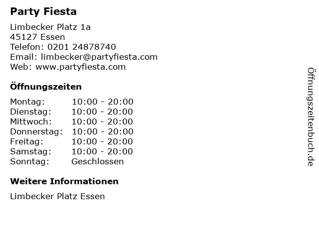 Party Fiesta in Essen: Adresse und Öffnungszeiten