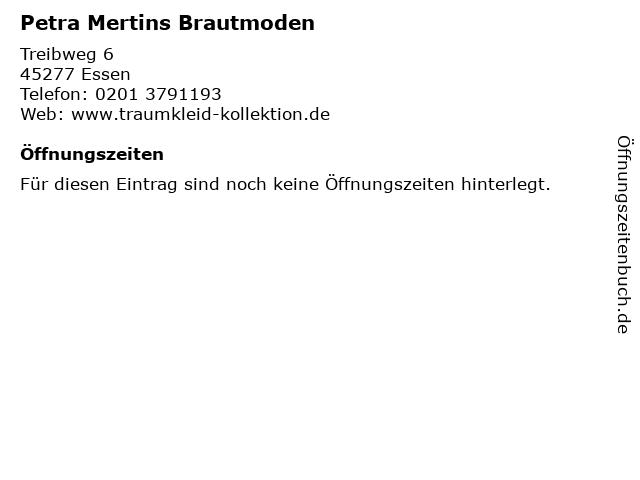 ᐅ Offnungszeiten Petra Mertins Brautmoden Treibweg 6 In Essen