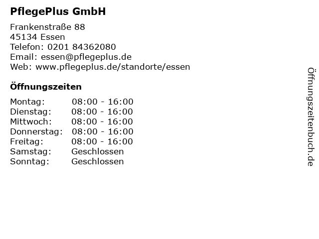 PflegePlus GmbH in Essen: Adresse und Öffnungszeiten