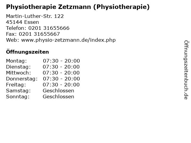 Physiotherapie Zetzmann (Physiotherapie) in Essen: Adresse und Öffnungszeiten